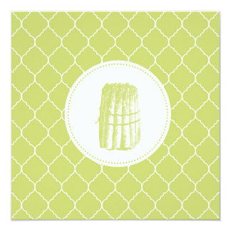 modern vintage aspargus 5.25x5.25 square paper invitation card