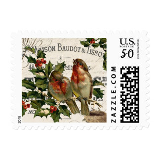 Modern Vintage bird Christmas stamp