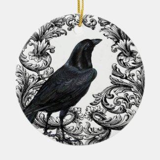 modern vintage black halloween crow ceramic ornament