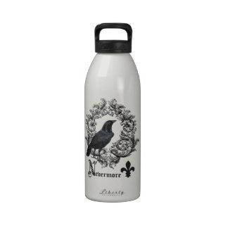 modern vintage black halloween crow water bottle