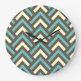 Modern Vintage Blue Cream Chevron Abstract Pattern Large Clock