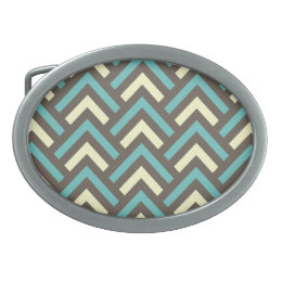 Modern Vintage Blue Cream Chevron Abstract Pattern Oval Belt Buckle
