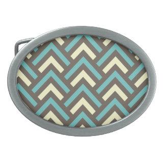 Modern Vintage Blue Cream Chevron Abstract Pattern Oval Belt Buckle