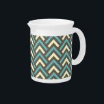 """Modern Vintage Blue Cream Chevron Abstract Pattern Pitcher<br><div class=""""desc"""">Modern Vintage Blue Cream Chevron Abstract Pattern for you. You can add your monograms,  initials,  name or photos onto this design by clicking the Customize it button. Enjoy it and Have fun!</div>"""