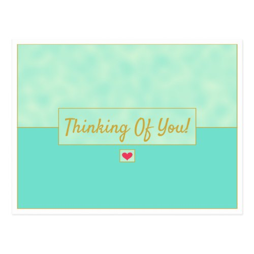 Modern Vintage Blue Green & Gold Thinking Of You Postcard