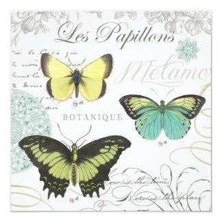 modern vintage botanical butterfiles card