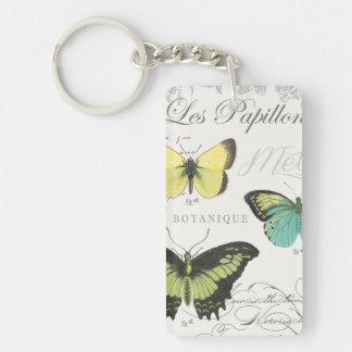 modern vintage botanical butterfiles keychain