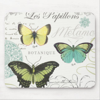 modern vintage botanical butterfiles mouse pad