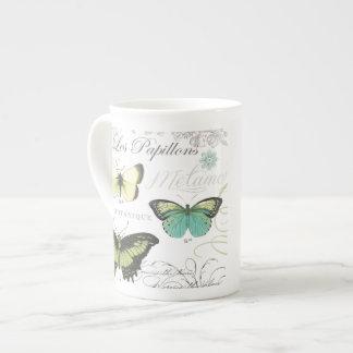 modern vintage botanical butterfiles tea cup
