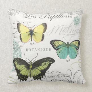modern vintage botanical butterfiles throw pillow