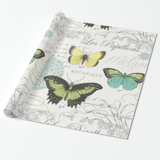 modern vintage botanical butterfiles wrapping paper