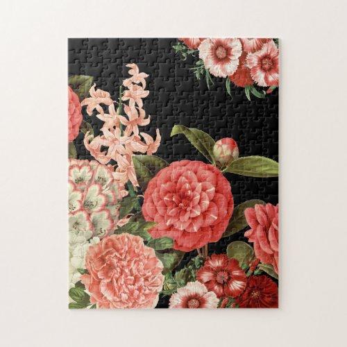 modern vintage botanical pink flowers jigsaw puzzle