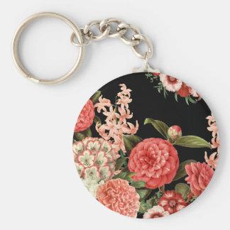 modern vintage botanical pink flowers keychain