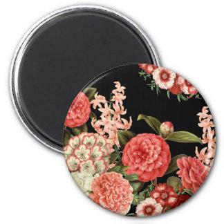 modern vintage botanical pink flowers magnet