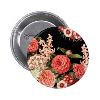 modern vintage botanical pink flowers pinback button