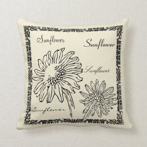 Modern vintage botanical sunflower illustrations throw