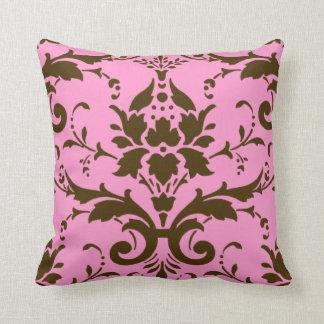 Modern Vintage Brown Damask on Pink Throw Pillow