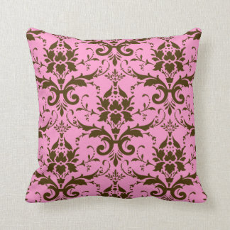 Modern Vintage Brown Damask on Pink Throw Pillow