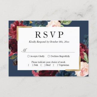 Modern Vintage Burgundy Blue Floral Wedding RSVP