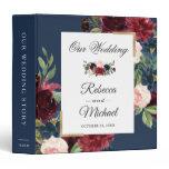 Modern Vintage Burgundy Floral Navy Blue Wedding 3 Ring Binder