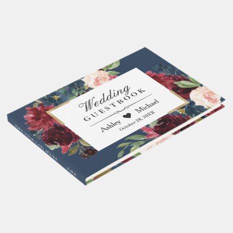 Modern Vintage Burgundy Floral Navy Blue Wedding Guest Book