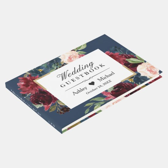 Modern Vintage Burgundy Floral Navy Blue Wedding Guest Book