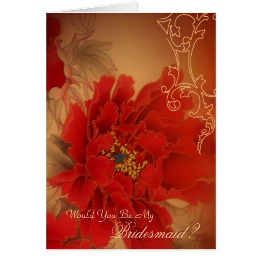 modern vintage burgundy Peony floral bridesmaid Stationery Note Card