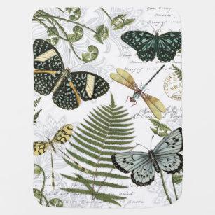 modern vintage butterflies and dragonflies baby blanket