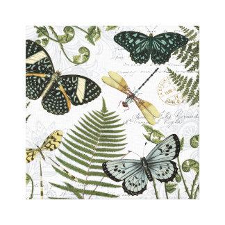 modern vintage butterflies and dragonflies canvas print