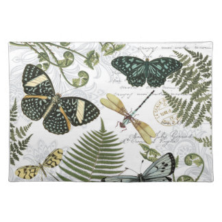 modern vintage butterflies and dragonflies cloth placemat