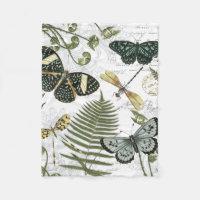 modern vintage butterflies and dragonflies fleece blanket