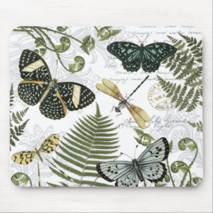 modern vintage butterflies and dragonflies mouse pad