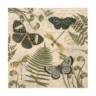 modern vintage butterflies and dragonflies wood wall art
