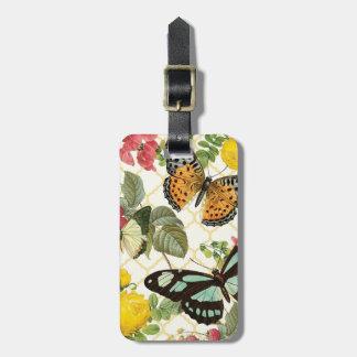 modern vintage butterfly garden bag tag