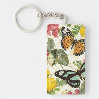 modern vintage butterfly garden Double-Sided rectangular acrylic keychain
