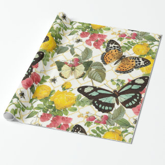 modern vintage butterfly garden wrapping paper
