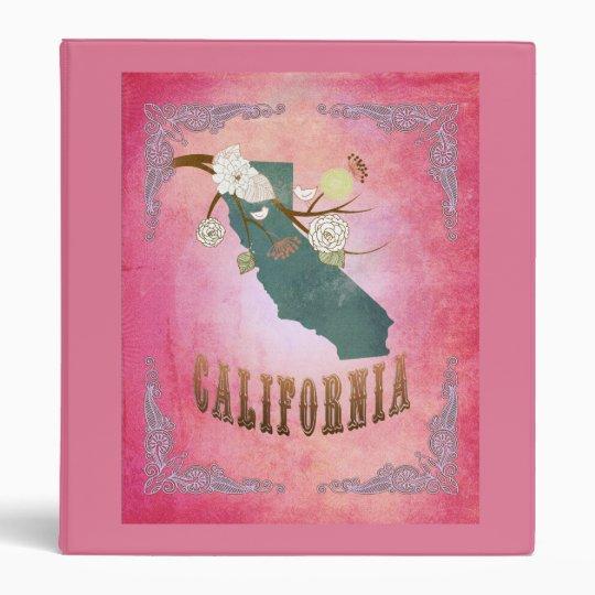 Modern Vintage California State Map- Candy Pink Binder