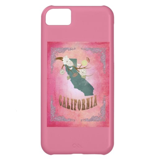 Modern Vintage California State Map- Candy Pink iPhone 5C Case