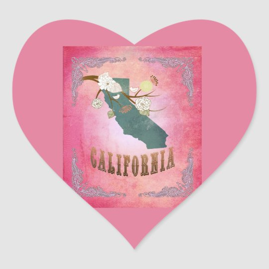 Modern Vintage California State Map- Candy Pink Heart Sticker