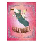 Modern Vintage California State Map- Candy Pink Postcard
