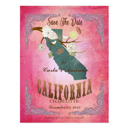 Modern Vintage California State Map- Candy Pink Post Card