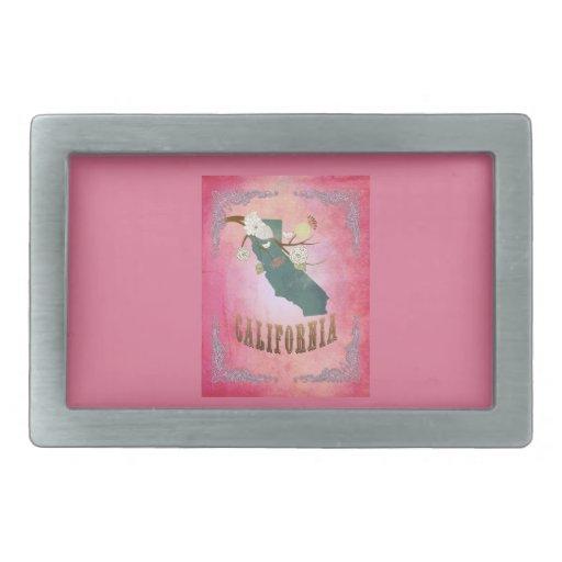 Modern Vintage California State Map- Candy Pink Rectangular Belt Buckles