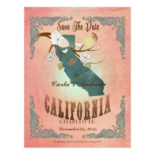 Modern Vintage California State Map- Pastel Peach Postcard