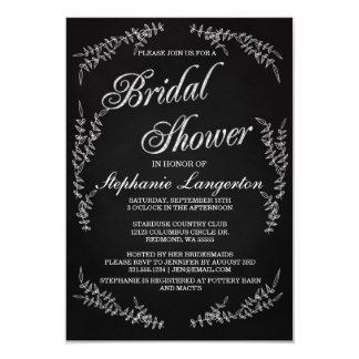 Modern Vintage Chalk Art Bridal Shower Invitation