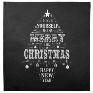 modern vintage chalkboard christmas tree napkin