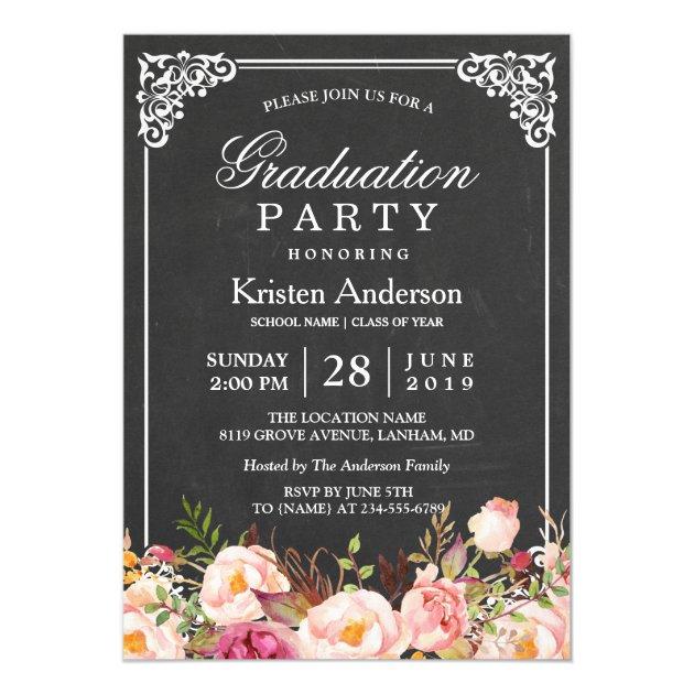Modern Vintage Chalkboard Floral Graduation Party Card