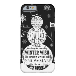 modern vintage chalkboard snowman typography art barely there iPhone 6 case