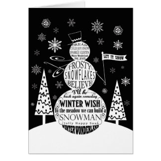 modern vintage chalkboard snowman typography art card