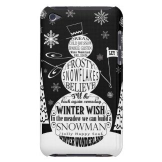 modern vintage chalkboard snowman typography art Case-Mate iPod touch case