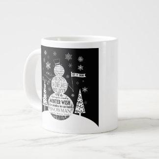 modern vintage chalkboard snowman typography art giant coffee mug